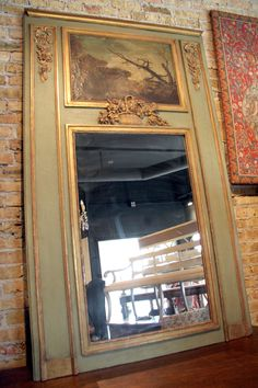 Antique French Green Trumeau Mirror