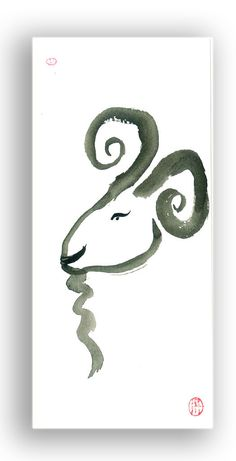 Aries Ram Astrology Zodiac Zen Painting for March - April Birthdays. $15.00, via Etsy.