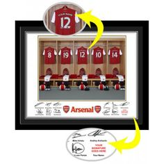 Personalised Arsenal Dressing Room Print :: Perfect Gift idea for any Arsenal fan! - Official Arsenal Gifts with Fast UK Delivery Arsenal Fc, Arsenal Gifts, Arsenal Football, Gifts For Wife, Gifts For Boys, Fathers Day Gifts, 30 Gifts, Personalized Football, Personalized Mugs