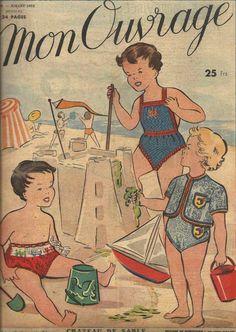 Ces maillots de bain en laine qui ont sévi jusque dans les années 60 ! De plomb et détendus dès qu'ils étaient mouillés ! (Mon ouvrage, juillet 1952 dans Revues anciennes)