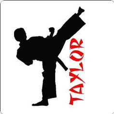 Size: 25 X 34 Karate Kicker w/ 5 tall text ****Please leave your custom name/colors in the MESSAGE TO SENDER when checking out****** They Wall Stickers Murals, Wall Decals, Wall Art, Karate Boy, Bedroom Themes, Bedroom Ideas, Bedroom Decor, Monogram Decal, Silhouette Cameo Projects