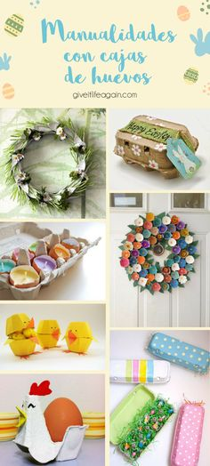 Manualidades de pascua hechas con cajas de huevos Holiday Decor, Diy, Ideas, Home Decor, Easter Crafts, Recycled Crafts, Creative Crafts, Egg Crate Flowers, Plastic Containers