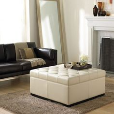 "Noah Tufted Storage Ottoman | Joss and Main | in cream bonded leather, 35"" square"