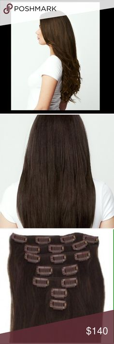 Chestnut Brown clip in hair extensions 22 inch chestnut brown hair extensions. 100% real human hair. REMI DIAMOND clip in EXTENSIONS. Brand new never worn. You can curl, blowdry, straiten and dye them. will accept reasonable offers Other
