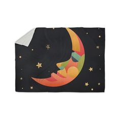 "Fotios Pavlopoulos ""Colorful Moon"" Black Gold Celestial Nature Mixed Media Illustration Sherpa Blanket from KESS InHouse"