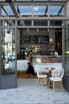 SOTTOZERO Industrial Scandinavian mix of tiles and materials for this newly ice cream house