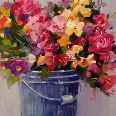 """Daily Paintworks - """"Bucket List"""" - Original Fine Art for Sale - © Libby Anderson"""