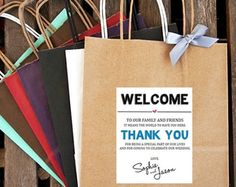 Personalized Welcome to ... Wedding Welcome Bag by BeforeTheIDos