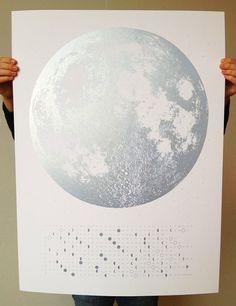 2014 Moon Phases Calendar 22x30 large screenprint by alittlelark