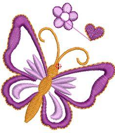 Bordados Descargar Gratis, Hermosa Mariposa de Niñas con Flores ~ Bordados Descargar Gratis, 200,000 mil Diseños Bordados Descargar Gratis