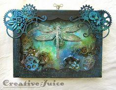 Creative Juice: Steampunk Insects inspired by Finnabair using Tim Holtz's layered dragonfly die; Aug 2014