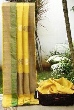 Lakshmi Handwoven Banarasi Tussar Silk Sari 000407 - Sari / All Saris - Parisera