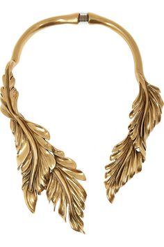 Oscar de la Renta | Gold-plated leaf necklace. #alwayswearheels