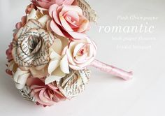 RESERVED FOR JUDY  Pink Champagne Book Roses  Bridal by momichka