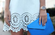 Lover laser cut skirt, Acne clutch, Michael Kors watch (via) Preppy Style, Style Me, Vogue, Classy And Fabulous, Playing Dress Up, Passion For Fashion, Spring Summer Fashion, Dress To Impress, Nice Dresses