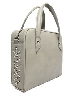 Leather bag with studs.