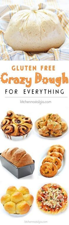 Gluten-Free Crazy Dough - make one dough keep it in your fridge and use it for anything you like: bread pizza dinner rolls cinnamon rolls garlic knots pretzels focaccia etc. Gluten Free Sweets, Gluten Free Diet, Foods With Gluten, Gluten Free Cooking, Dairy Free Recipes, Bread Recipes, Hamburger Recipes, Gourmet Recipes, Entree Recipes