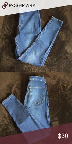 Topshop Joni Jeans Rich blue, high waisted, stretch, 32 length Topshop Jeans Skinny
