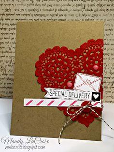 Sugar Pea Designs Special Delivery stamp set - CAS Valentine's Day Card #sugarpeadesigns  #valentinesdaycard