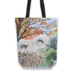 Old tree animal Totebag by Florian Ivan ( from Thing 1, Canvas Tote Bags, Hand Sewing, Reusable Tote Bags, Feelings, Prints, Cotton, Stuff To Buy, Animals
