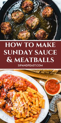 Making authentic Italian meatballs in Sunday sauce is simple with this step by step guide. The pork and beef meatballs are made with parmigiano reggiano, parsley and garlic. Recipe shows how to make the meatballs by either frying or baking them. Meatball Recipes, Pork Recipes, Cooking Recipes, Meatball Appetizers, Authentic Italian Meatballs, Best Italian Dishes, Italian Pasta Recipes Authentic, Italian Sauces, Best Italian Recipes