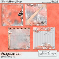 Happiness Is...Stacked Papers By Designs by Laura Burger