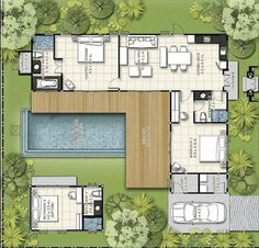 🇧🇷 Com pequenas mudanças, daria uma casa incrível! 😍😍/ 🇺🇲 With small changes, it would be an incredible house! L Shaped House Plans, Modern House Plans, Small House Plans, Modern House Design, House Floor Plans, Container House Plans, Container House Design, Small Villa, Casas Containers