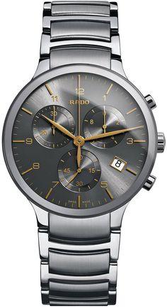 Rado Watch Centrix XL #bezel-fixed #bracelet-strap-steel #brand-rado…