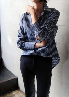 oversized button down w/ black trousers