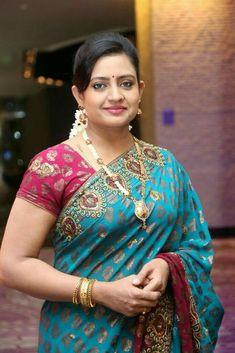 Saree Hairstyles, Beautiful Women Over 40, Saree Photoshoot, Bridal Makeup Looks, Blue Saree, Thing 1, Cute Beauty, Most Beautiful Indian Actress, Indian Beauty Saree