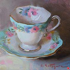 Cornflower Teacup by Elena Katsyura Oil ~ 6 in x 6 in