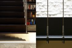 This stair floats, suspended from cables that double as the guardrail. The connection of the cables through the stair is expressed, both above and below the steel plates. The detail is industrial, yet still simple.  - Workshop/apd