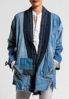 Greg Lauren Vintage Stripe Kimono Jacket in Denim Blue