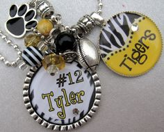 Zebra Sport Necklace or School Spirit Personalized Name Silver Pendant Necklace - Mascot Name, Team Colors - Basketball, Football Softball Jewelry, Softball Bows, Football Cheer, Basketball Mom, Baseball, Cheerleading, Cheer Spirit, Spirit Wear, Starburst Bracelet