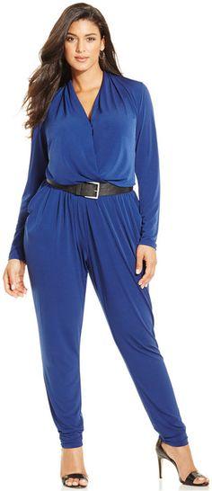 MICHAEL Michael Kors Plus Size Long-Sleeve Wrap Jumpsuit