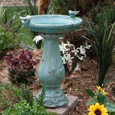 Antique Light Turquoise Ceramic Bird Bath with 2 Birds