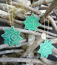 Christmas Star Ornaments Lace Ceramic Christmas by Ceraminic