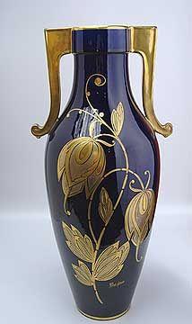 Cobalt Blue Art Nouveau Vase Signed Pinon Heuze | JV