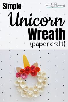 FYI - Not only is spring coming, but this Simple Unicorn Wreath is perfect for all the time--just customize it for whatever event is coming-up! Just, definitely, you need to make one, STAT! Easy Diy Crafts, Diy Arts And Crafts, Crafts To Make, Fun Crafts, Crafts For Kids, Paper Crafts, Craft Projects For Adults, Diy Craft Projects, Craft Ideas