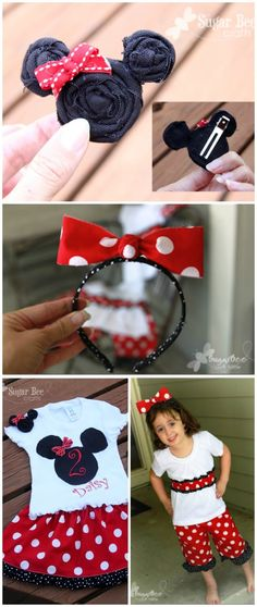 here's how to make your own minnie mouse accessories and outfits - there's a how-to - - Minnie Outfit, hairclip - and labels! ~ Sugar Bee Crafts