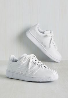 In the Sport Term Sneaker. By lacing up these white sneakers by K-Swiss, you prep for a victory celebrated in old school style. #white #modcloth