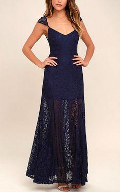 Evening Dreaming Navy Blue Lace Maxi Dress via @bestmaxidress