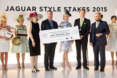 Competitors at the 2015 Jaguar Style Stakes with The Meydan Hotel's Thomas Grundner (second from left) and Longines' Patrick Aoun (far left). Jaguar, Competition, Place Cards, Place Card Holders, Lady, Style, Swag, Stylus