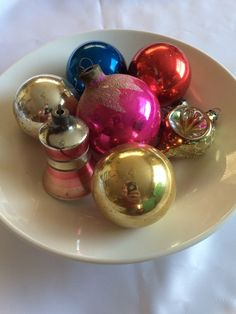 7 Vintage Glass Christmas Ornaments by ContemporaryVintage on Etsy