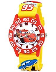 """The Disney Kids' W001509 """"Time Teacher"""" 3D Cars Watch with Yellow Plastic Band is another FUN character watch for learning to tell time. It is a round time Teacher plastic watch with Disney's Lightning McQueen character on the dial."""