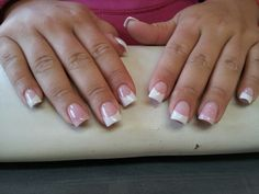Tammy Taylor nail product, simple pink & white acrylic nails. Sculpted, no tips..