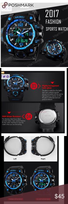 Digital Sports Waterproof Men Watch with Calendar ONLY Watch and Instructions Include NO case,   100% SKMEI brand S SHOCK new and high quality.  Dual time & date & chronograph & alarm & back light  Durable stainless steel back,black resin strap.  Precise quartz & digital movement for accurate time keeping.  50M water resistance.   Specification:  Watch case Diameter: 5.2cm(2.05'')  Watch case Thickness: 1.7cm(0.67'')  Band Length (Included the case):26.0cm(10.24'')  Watch band Width…