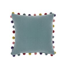 Add a splash of colour to your sofa with the Duck Egg Pom Pom cushion from Bluebellgray. In a beautiful duck egg blue colour, it features contrasting multicoloured pom pom detailing around the edges a