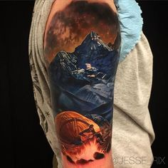 Amazing artist Jesse Rix @jesse_rix camp fire mountain awesome color realism landscape arm tattoo! ...