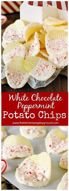 For a quick and easy last-minute Christmas treat, these White Chocolate Peppermint Potato Chips fit the bill! They& the perfect sweet-and-salty flavor combination we love. Christmas Party Snacks, Christmas Sweets, Christmas Cooking, Holiday Treats, Holiday Recipes, Christmas Recipes, Christmas Ideas, Chocolate Covered Potato Chips, Snack Recipes